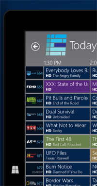 Windows 8 My Media Center Television Guide Portrait